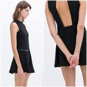 Black Zara open back mini dress with side zips